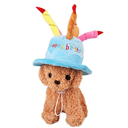 Woya Cat Dog Pet Happy Birthday Party Hat 5 Colorful Candles-Blue