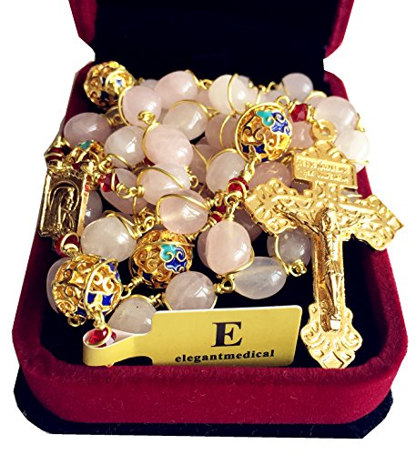 Quartz Rosary Crucifix - elegantmedical Catholic Plated Gold Wire Pink Quartz Beads 5 Decade Rosary Cross Necklace