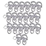 CNBTR 67x39mm Marine 304 Stainless Steel Swivel Jaw Snap Shackle Fixed Bail S-Ring Buckle Set of 20
