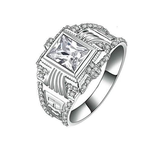 Sterling Silver Enhancer Mounting (Epinki 925 Sterling Silver Men'S Ring Wedding Rings Engagement Rings Hollow Square Cubic Zirconia Size 7)