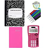 Texas Instruments 30XIIS Student Scientific Calculator Pink, Composition Notebook, 2018-2019 Weekly Planner Pink & Paper Mate Mechanical Pencils, 10 Count – 4 Piece Back to School Bundle