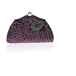 Shining Sequins Beaded Peacock Rhinestone Purse