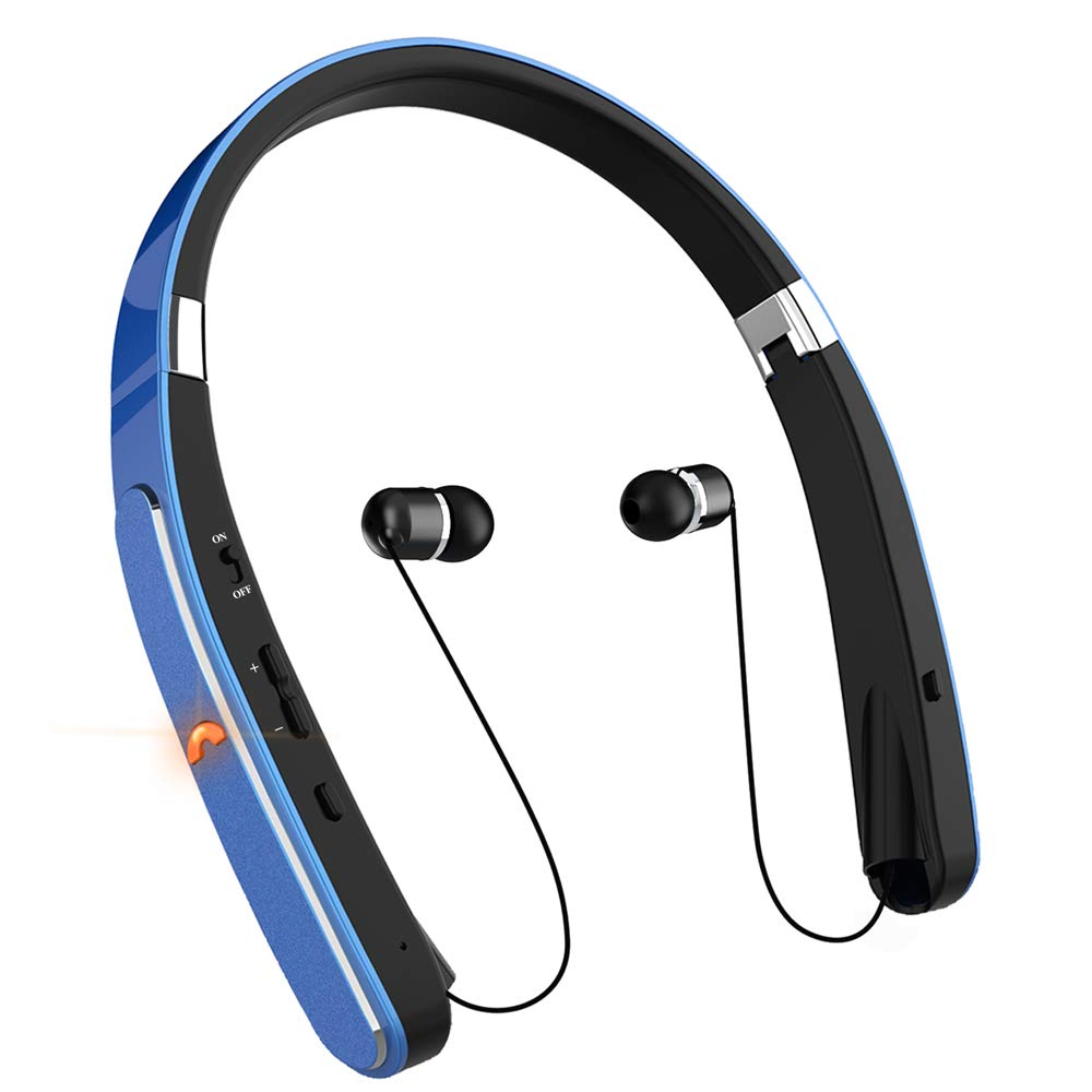 Bluetooth Headphones, Neckband Bluetooth Headset, Dostyle 30 Hours Playtime Wireless Bluetooth Headphones w Mic Retractable Headset Compatible for All Cellphones Samsung Android Phones Blue