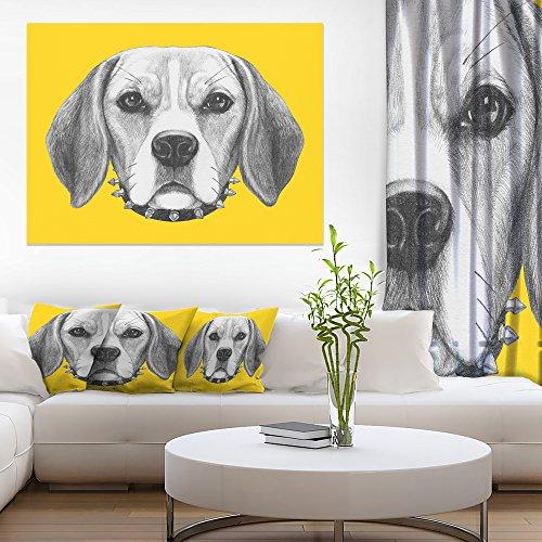 Funny Beagle Dog with Collar Animal Canvas Art Print -  Design Art, PT13178-40-30