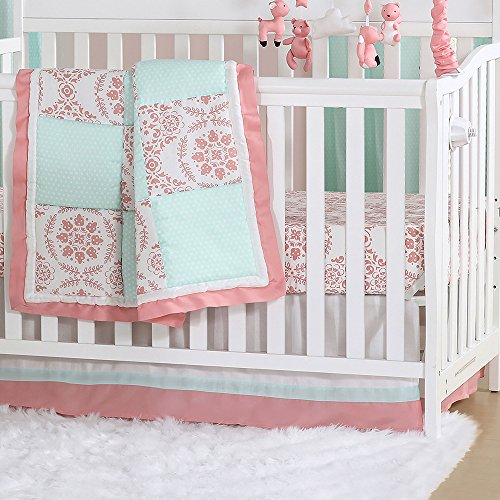 (Mint Green and Coral Patchwork 3 Piece Baby Crib Bedding Set by The Peanut Shell)