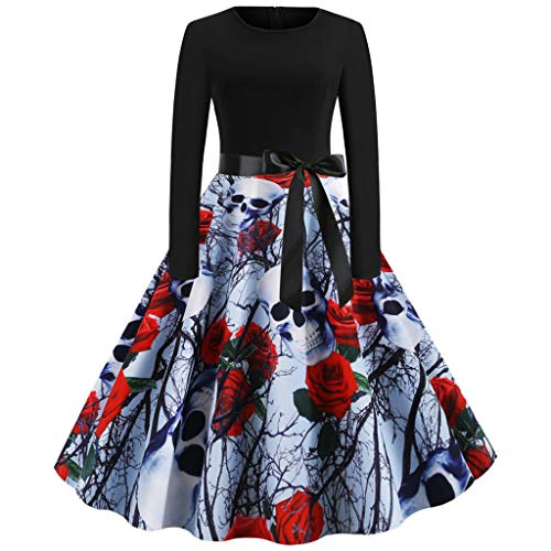 Halloween Props Sydney (iLOOSKR Women Vintage Printing Pleated Dress Long Sleeve Halloween Housewife Evening Party Prom)