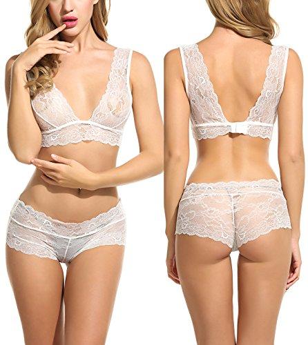 Avidlove Women Lingerie Sleepwear Lace Pajama Sexy Camisole Short Sets White M