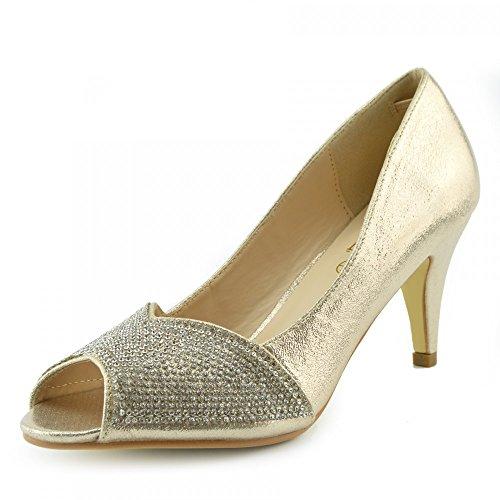 Coup De Pied Dames Chaussures Talons Partie Look Classique Chaussures De Mariage À Bout Ouvert Or