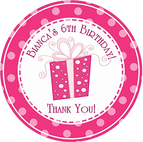 Pink Polka Dot Present Birthday Party Stickers or Favor Tags (Polka Dot Tags)