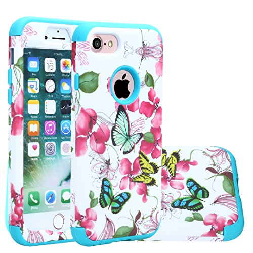 iPhone 8 Case, iPhone 7 Cover, Harsel Floral Flowers Butterflies Hybrid Armor TPU + Plastic Heavy Duty Bumper High Impact Shockproof Durable Case for Apple iPhone 7/8 (Butterfly/Blue)