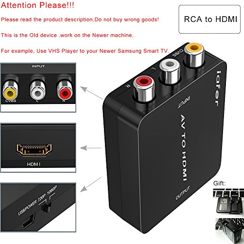 RCA to HDMI, AV to HDMI, Support 720p 1080p, Composite Video(Yellow) and Stereo Audio (White and red) to HDMI Converter(Black)