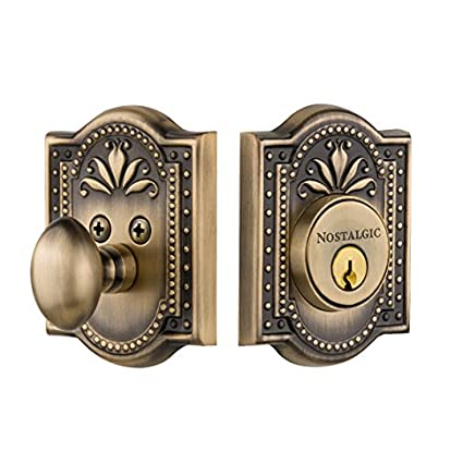 Nostalgic Warehouse 726061 Meadows Plate single Cylinder Deadbolt Meadows  Door Knob In Antique Brass, - Nostalgic Warehouse 726061 Meadows Plate Single Cylinder Deadbolt
