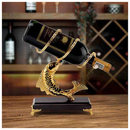 Meet World Fish Wine Rack Wine Bottle Rack Wine Bottle Holder European Fashion Creative Gold-Plated Solid Wood Home Decoration