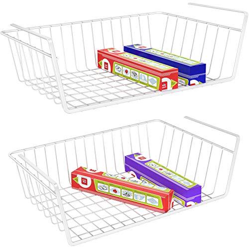 (Under Shelf Basket, iSPECLE 2 Pack Wire Rack, Slides Under Shelves For Storage, Easy to Install, White)