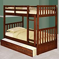 Discovery World Furniture Twin over Twin Bunk Bed with Twin Trundle Bed, Merlot