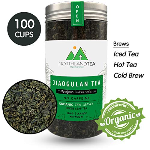 Organic Gynostemma Tea - Jiaogulan Tea - Loose Leaf , No sticks - Freshest production in every month - Caffeine Free - Eternal life Herb - 100g (3.52 oz) Northlandtea ()
