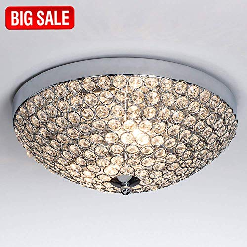 SOTTAE Elegant 2 Lights Crystal Cental Shade Chrome Finish Bedroom Living Room Hallway Kids Room Modern Crystal Chandelier Ceiling Light, Ceiling Chandelier Size 11.8