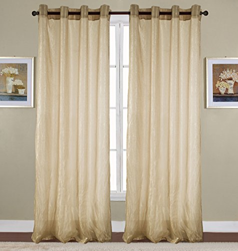 RT Designers Collection Maya Crushed 52 x 90 in. Grommet Curtain Panel, Taupe