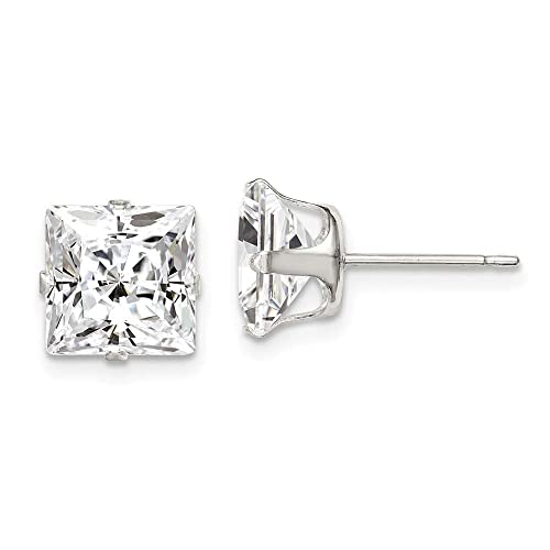 925 Sterling Silver Polished 8mm Square CZ Stud Post Earrings