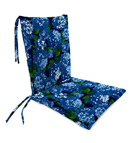 Plow & Hearth Classic Polyester Outdoor Rocking Chair Cushion with Ties, Seat Cushion 21''W Front/17''W Back x 19''D; Back Cushion 16''W x 20''L - Midnight Hydrangea