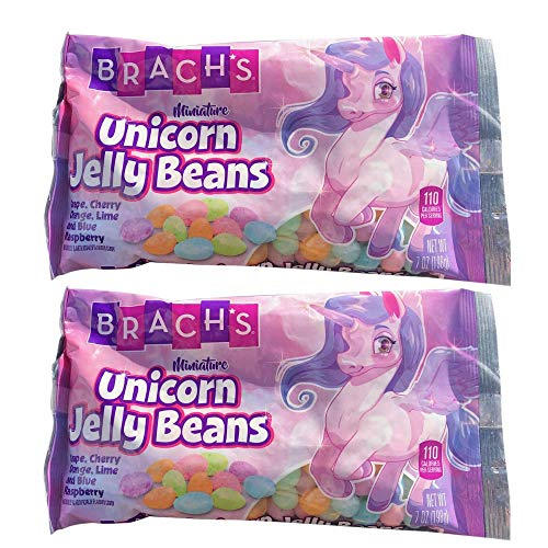 (Brach's Miniature Unicorn Jelly Beans, 7 Ounce Bags, Pack of 2, Grape, Cherry, Orange, Lime, and Blue Raspberry)