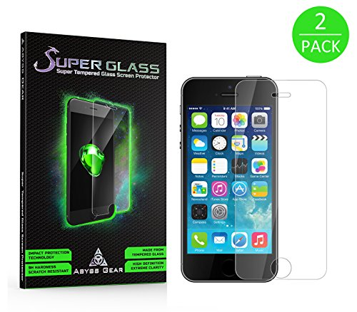 (2 Pack) iPhone SE Tempered Glass Screen Protector for Apple iPhone SE, iPhone 5S, iPhone 5C, and iPhone 5 - Strongest Glass Cover - Double Strength
