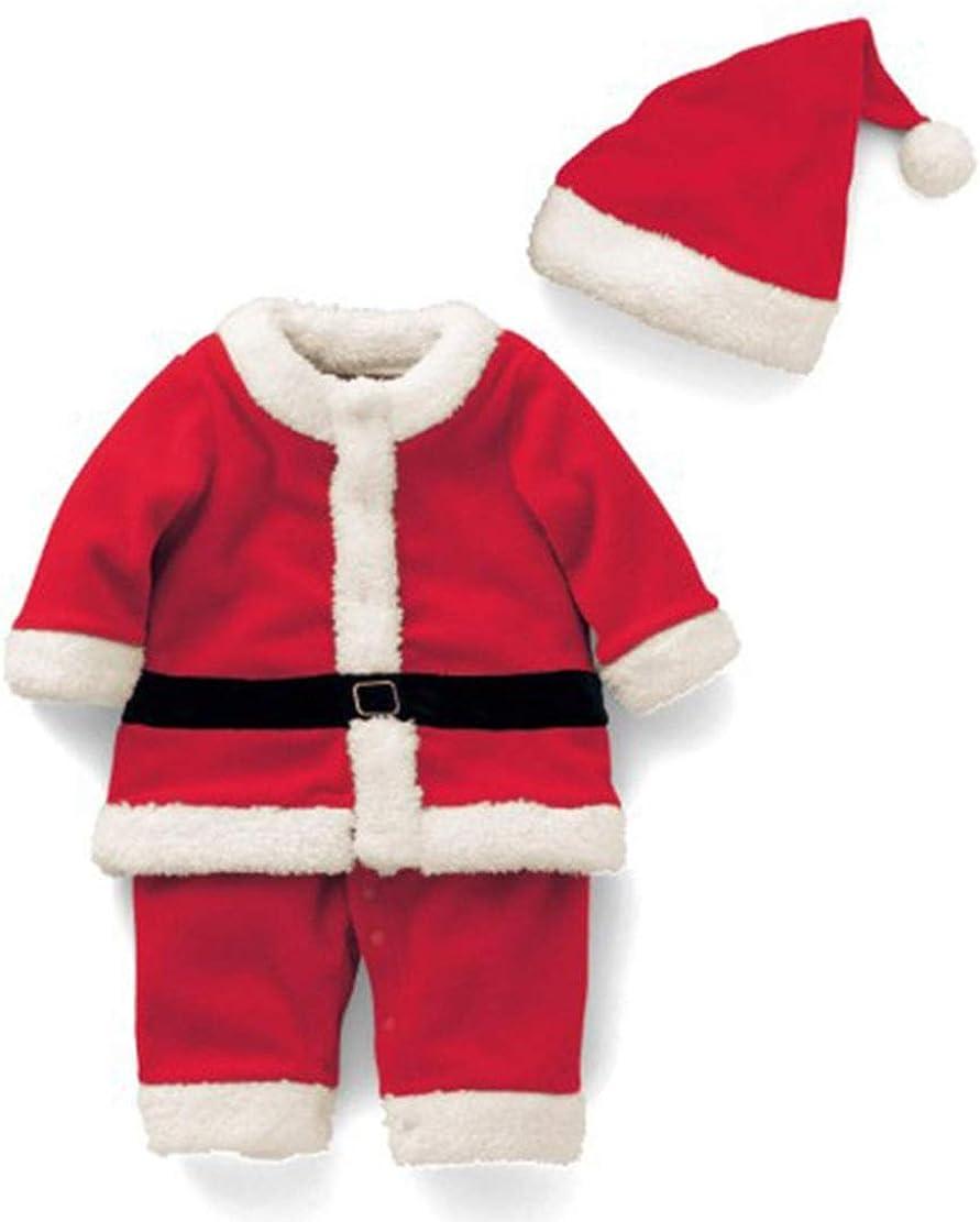 Gaga city 2pcs Baby Weihnachten Kost/üm Weihnachtskleidung Junge M/ädchen Baumwolle Strampelanzug Hut Weihnachts Kleidung Outfits