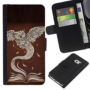 Be-Star la tarjeta de Crédito Slots PU Funda de cuero Monedero caso cubierta de piel Para Samsung Galaxy S6 EDGE ( Book Owl Learning Teacher School )