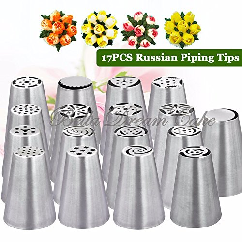 [17pcs Russia Nozzles Icing Piping Tools Pasty Tips for Cupcake Decoration] (Homemade Gingerbread Costumes)