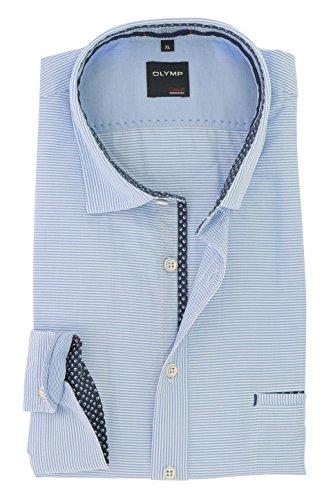OLYMP Herren Freizeit Hemd Serie Casual Modern Fit mit Kent Kragen 100% Baumwolle gestreift Gr. XL 43/44 Lässig und Pflegeleicht Blau
