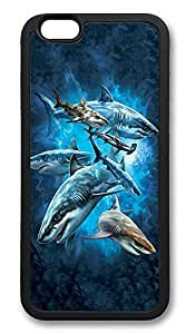 iPhone 6 Cases, Shark Collage Durable Soft Slim TPU Case Cover for iPhone 6 4.7 inch Screen (Does NOT fit iPhone 5 5S 5C 4 4s or iPhone 6 Plus 5.5 inch screen) - TPU Black