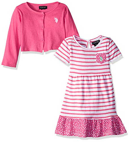 U.S. Polo Assn. Girls' Toddler Dress with Sweater Jacket, Printed Ruffle Sweep Babydoll Camellia Rose, 3T