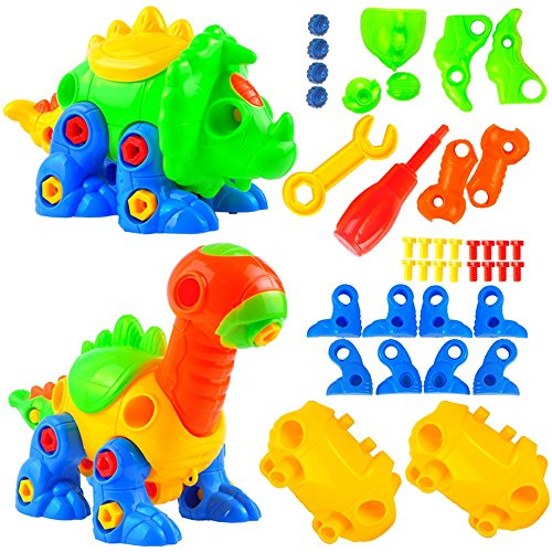 Top aGreatLife Take Apart Dinosaur Toy Set with Tools - Creative Building and Assembly STEM Learning Toys for Kids And Toddlers