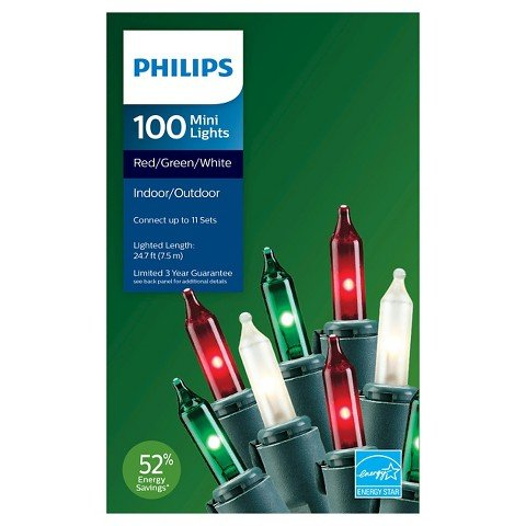 Philips 100 Mini Lights Red/Green/White