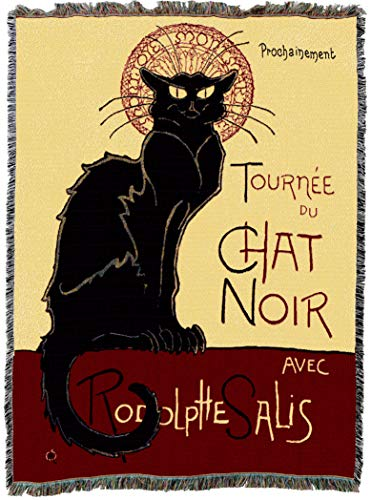 - Pure Country Weavers | Tournee Chat Noir Cat Woven Tapestry Blanket with Fringe Cotton USA 72x54