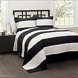 stripe quilt full - Lush Decor 16T000487 3 Piece Stripe Quilt Set, Full/Queen, Black/White