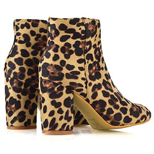 Stivaletto Finto Scamosciato Medio Donna Essex A Smart Leopardo Blocco Glam Tacco alto Festa PSP7Ow5q