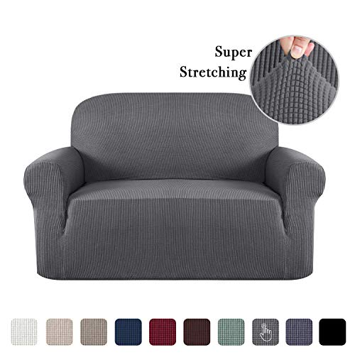1 Piece Furniture Cover for Loveseat Loveseat Slipcovers for 2 Cushions Sofa Rich Textured Lycra High Spandex Checked Pattern Loveseat Covers for Living Room, 2 Seater, Charcoal Gray