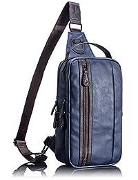 Leaper Mens Cool PU Shoulder Sling Chest Utility Sport Hiking Satchel Travel Bag Daypack for Teenager Boys Blue