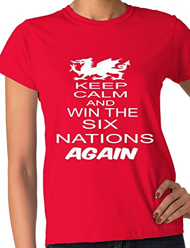 Print4ucouk Women's Welsh Rugby Wales Win 6 Nations Again World Cup Skinny T-Shirt XX-Large Red Wales Rugby Six Nations