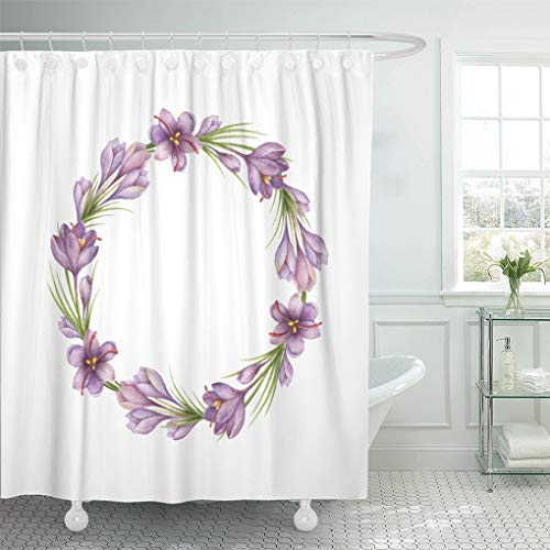"""Semtomn 72""""x72"""" Shower Curtain Watercolor Round of Saffron Healing Herbs Natural Cosmetics Aromatherapy Waterproof Bath Bathroom Curtains Home Decor Polyester Fabric Set with Hooks from Semtomn"""