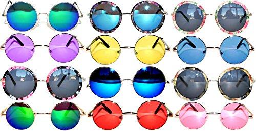 Retro Round Circle Colored Vintage Tint Sunglasses Metal Frame Spring hinge OWL (12p_Mix_43mm_56mm_60mm, PC - Sunglass Wholesale