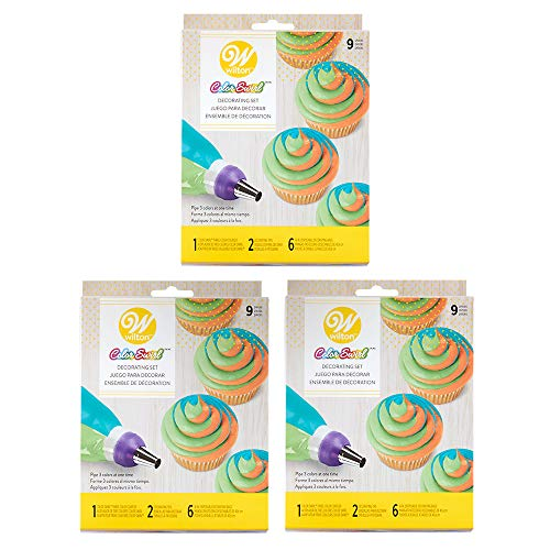 Wilton Color Swirl 3-Color Coupler 9-Piece Decorating Kit, 3 pack (Best Wilton Tip For Cupcakes)