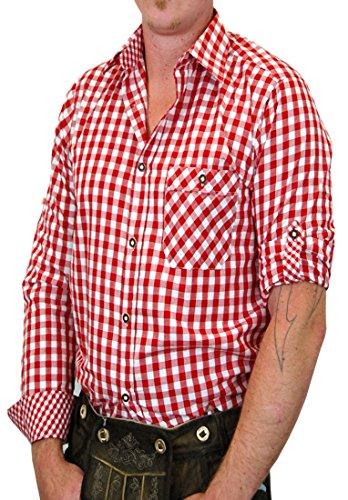 Trachtenhemd Sebastian kariert mit edlen Karo Kontrasten, Größen:M;Farben:rot-weiss