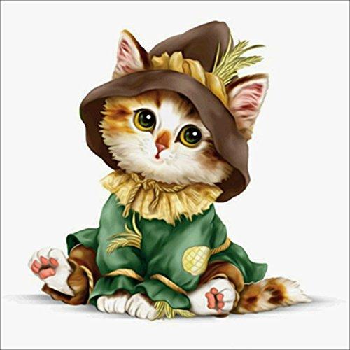 Diamond Embroidery Diamond Painting Cat- PigBoss 5D Cross Stitch Kit Cartoon Kitten Animal Mosaic Pattern Home Decor Gifts (11.8 X 11.8 inches)