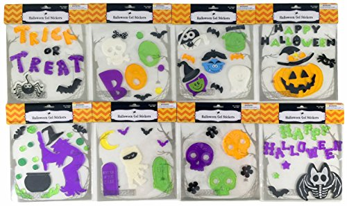 [Halloween Witch Pumpkin Skull Gel Sticker Window Clings Bundle of 8 Packages] (Wood Boo Sign)