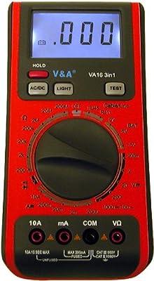 V&A VA16 3-in-1 Digital Multimeter & Battery Tester Telephone Line RJ11 & RJ45 T168A, T568B Tester & Cable Tester
