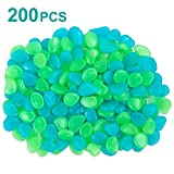 iHomy 200Pack Glow in the Dark Garden Pebbles, Outdoor Glow Rocks Stones for Garden, Lawn, Patio, Yard, Walkways, Driveway, Aquarium and Fish Tank, Decorative Stones (Green & Blue)