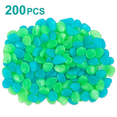 iHomy 200Pack Glow in the Dark Garden Pebbles, Outdoor Glow Rocks Stones for Garden, Lawn, Patio, Yard, Walkways, Driveway, Aquarium and Fish Tank, Decorative Stones (Green & Blue) by iHomy