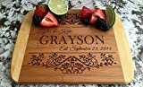 Personalized Cutting Board for Wedding Gifts - Wood Cutting Boards, Also Bridal Shower and Housewarming Gifts (8.5 x 11 Two Tone Bamboo with Curved Edges, Grayson Design)